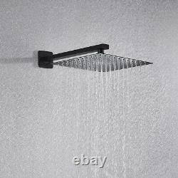 2-Way Shower System Flush-Mounted LCD Temperature Display Black 10 Shower Head