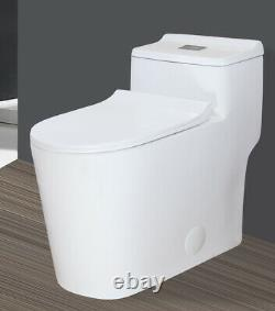 ADA Comfort Height Dual Flush Elongated One Piece Toilet 3 inch Fast Flush White