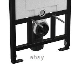 Alca 0.85m Concealed Wall Hung Wc Toilet Cistern Frame + White/black Flush Plate