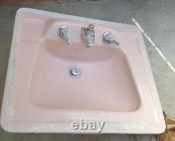 American Standard Toilet, Sink, Flush Valve. Venetian Pink