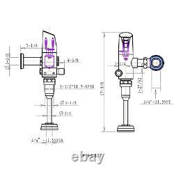 Automatic 1.0 GPF Urinal Commercial Bathroom Flush Valve Flushometer