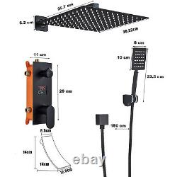 Black 8 3-Way Shower System Flush-Mounted LCD Temperature Display Shower Head