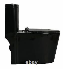 Black Gloss Toilet Modern One Piece Dual Flush Savaro