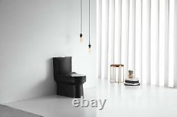 Black Toilet Modern One Piece Dual Flush Black Gloss Finish- Lazio