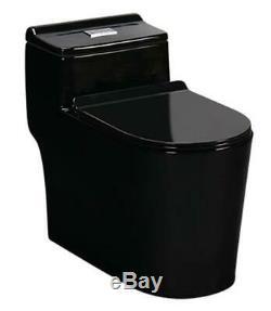 Black Toilet Modern One Piece Dual Flush Black Gloss Finish- Siena