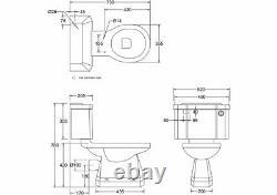 Burlington Close Coupled Traditional Toilet Push Button Flush, P5 & C2