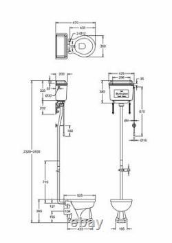 Burlington High Level Toilet, Chrome Polished, Brushed, Black or White Aluminium
