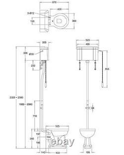 Burlington High Level WC Toilet with Ceramic Cistern & Chrome Flush Pipe