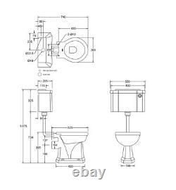 Burlington Low Level Push Button Toilet including Chrome Flushpipe Kit