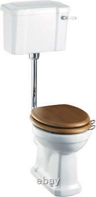 Burlington Low Level Toilet, Lever Cistern & Chrome Flushpipe Kit