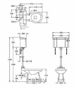 Burlington Medium Level Chrome Flushpipe Kit, T33CHR, Flush Pipe Kit