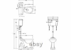 Burlington Medium Level Regal Height Toilet, Chrome Flush Pipe & Lever Cistern