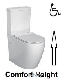 Caro Comfort Raised Height Close Coupled Toilet Modern Round WC Disabled Elderly
