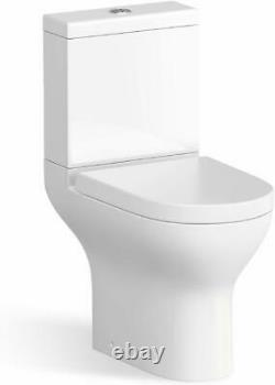 Close Coupled Toilet WC Power Flush D Shape White Back To Wall Water Saving WC