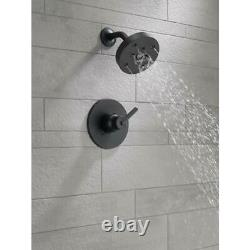 DELTA Trinsic 1-Handle Wall Mount Shower Faucet Trim Kit in Matte Black with H2O