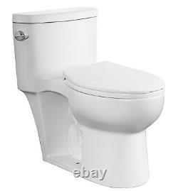 DeVille 42293D Dual Flush Elongated One Piece Toilet with Soft Seat, Comfort Height