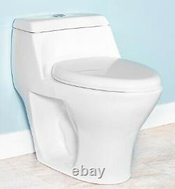 DeVille3246D Dual Flush One Piece Toilet with Soft Close Seat, Elongated, White