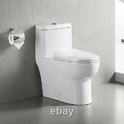 DeerValley Modern Dual Flush Elongated One Piece Toilet With Soft Closing Seat