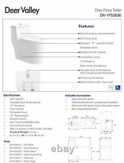 DeerValley Modern Dual-Flush Elongated One-Piece Toilet With Soft Closing Seat
