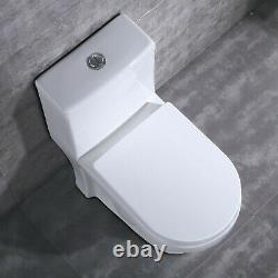 DeerValley Small Compact Dual Flush One Piece Elongated Toilet for Water Closet
