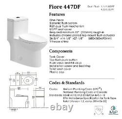 Fiore 447DF One Piece Toilet with Slow Close Seat, Elongated, Dual Flush, Modern
