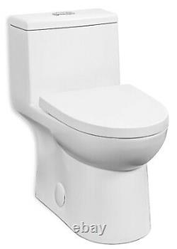 Fiore435E One Piece Elongated Toilet with Slow Close Seat, 1.28 gpf, Top Push Flush