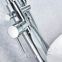 Freestanding Bathtub Faucet Tub Filler Floor Mounted with Hand Shower Mixer Tap