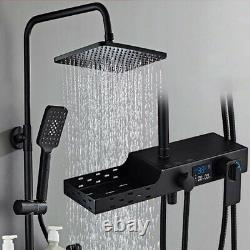 Full copper black shower set multifunctional thermostatic digital display shower