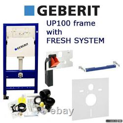 GEBERIT DUOFIX Wall Hung WC Toilet Frame UP100 DELTA with FRESH SYSTEM and MAT
