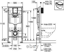 Grohe 38528 Rapid SL 3 in 1 WC Set 1.13m Concealed Frame Cistern Plate 38860