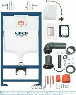 Grohe Concealed Wc Toilet Cistern Frame With Skate Glass Moon White Flush Plate