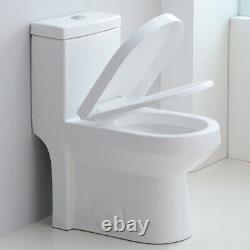 HOROW Ceramic Small Modern Toilet NIB One Piece Water Closet Dual Flush Toilet
