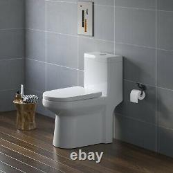 HOROW Dual Flush Small one Piece Toilet Compact Bathroom With Soft Closing Seat