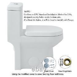 HOROW Modern Small Toilet NIB One Piece Toilet Dual Flush with Soft Closing Seat