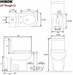 HOROW Small 1-Piece Toilet Dual Flush 10'' Rough-in Seat & 3 Years Warranty US