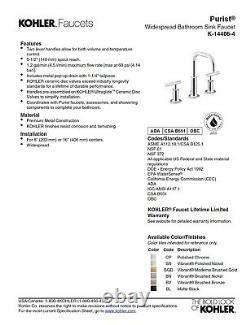 K-14406-4-SN Kohler Purist widespread bathroom sink faucet withlow gooseneck spout