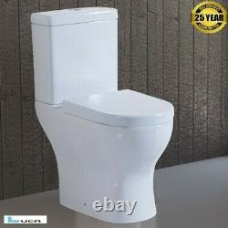 Lucia Modern Toilet Close Coupled WC Soft Close Seat Cistern Round NEW Open Back