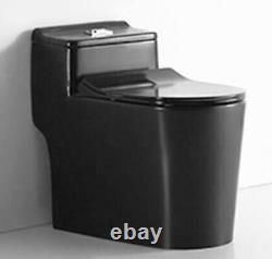 Matte Black Toilet Modern One Piece Dual Flush Matte Black Finish- Siena