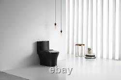 Matte Black Toilet Modern One Piece Dual Flush Verona