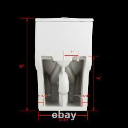 Modern One Piece Elongated Toilet 1.28GPF Ceramic Compact White With Soft Seat