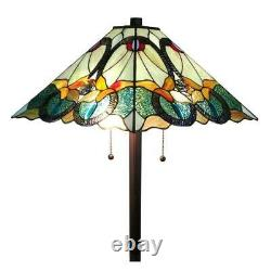 Multicolored Floor Lamp Hand Crafted Tiffany Stained Glass Home Lighting Fixture