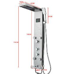 New Stainless Steel Shower Panel Tower System LED Rainfall Double Shower Head