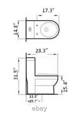 One Piece Toilet Modern Bathroom Toilet Dual Flush Toilet Acerra 28.3