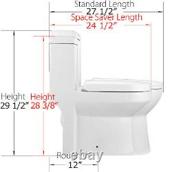One Piece Toilet Small Size 1.28GPF Elongated Dual Flush with Soft Closing Seat