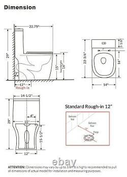 Open Box-WinZo Modern Compact Small Short Dual Flush One Piece Toilet