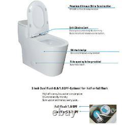 Open Box-WinZo WZ5080 Dual Flush Comfort Height One Piece Toilet Low Tank White