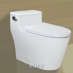 Open Box-WinZo WZ5081 Elongated One Piece Toilet Low Profile 1.28GPF White
