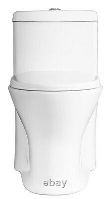 Romano32120D Dual Flush Round Front One Piece Toilet with Quiet Close Seat, White