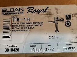 SLOAN Royal 116 1.6 Manual Flush Valve, Toilet, 1.6 gpf, Inlet Size 1, Spud
