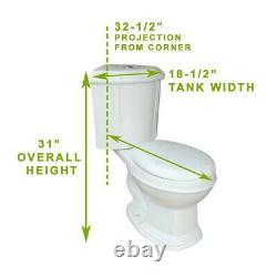 Sheffield Corner 2-Piece 0.8 GPF/1.6 GPF WaterSense Dual Flush Round Toilet in W